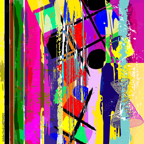 Fotobehang Bestsellers abstract artwork, with strokes, splashes, stripes and circles