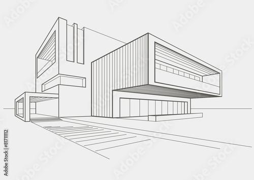 Obraz linear sketch modern building on light gray background - fototapety do salonu