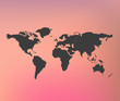 Black infographic world map on pink blurred background