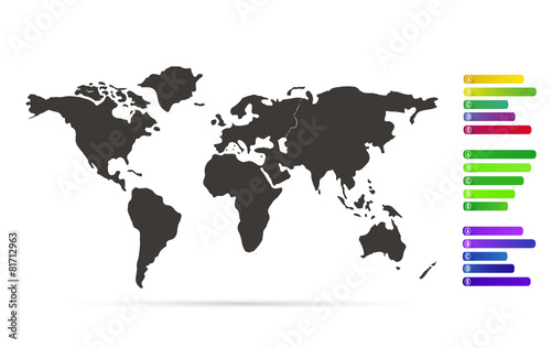 World map with infographic colorful labels