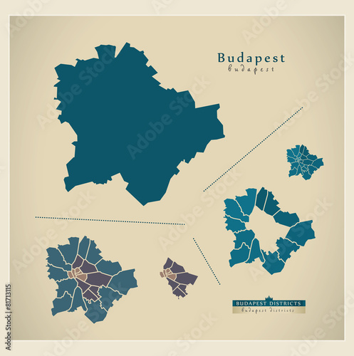 Photo Modern Map - Budapest HU