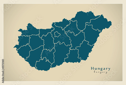 Modern Map - Hungary with administrative divisions HU Fototapet