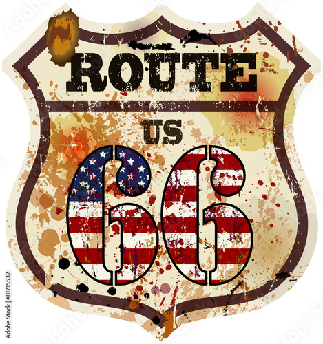 Photo  vintage route 66 road sign, retro style, vector illustration