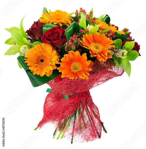 Foto op Canvas Bloemen Bouquet of flowers in pink package