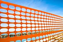 Orange Plastic Grid Around A Construction Site On The Coastline