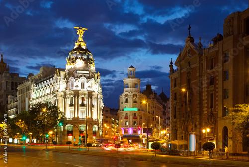 Staande foto Madrid Crossing Calle de Alcala and Gran Via in night. Madrid