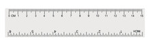 White Transparent Ruler Isolated Inch Centimetre, Centimeters