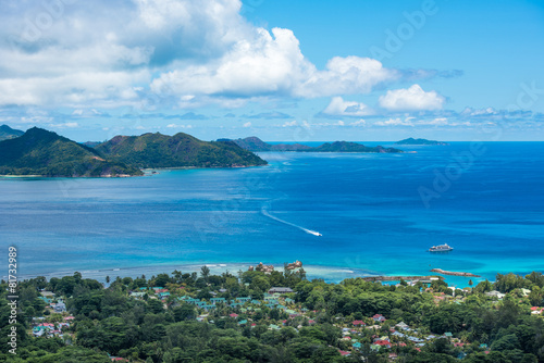 Wall Murals New Zealand Panorama of La Digue island from Nid d'Aigle viewpoint, Seyche