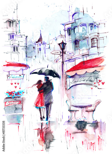 Obraz Zakochana para pod parasolem - romantyczna akwarela - fototapety do salonu