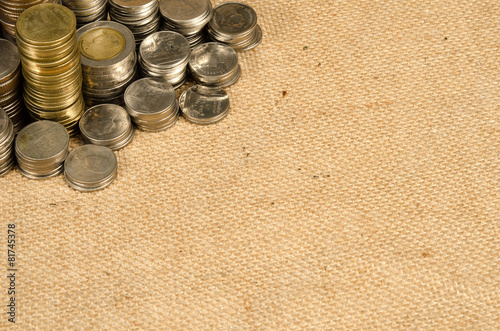 Poster Bar Stack of Thai baht coins