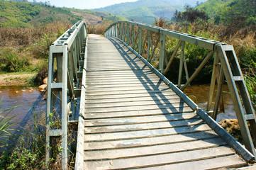 Small bridge cross stream at Vietnamese countryside, this bridge
