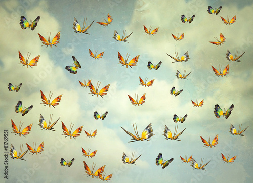Montage in der Fensternische Surrealismus Butterflies in the sky