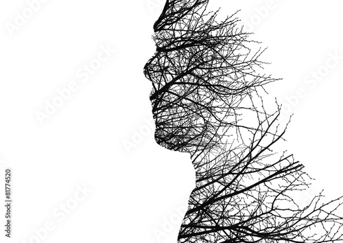 Photo Man profile made of bare tree branches