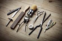 Vintage Tools Of Barber Shop O...