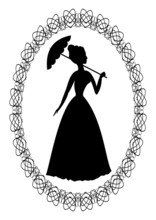 Silhouette Of Rococo Lady With...