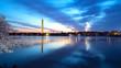 Washington Monument at night with cherry blossom