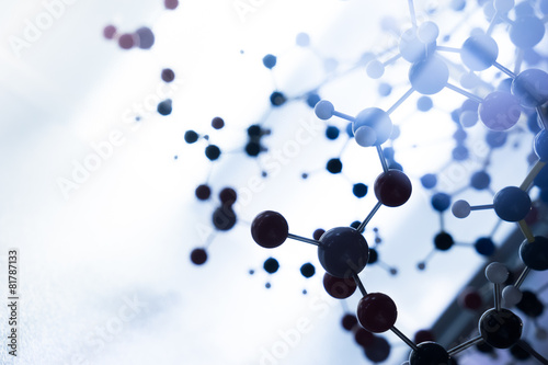 Fotografia  Molecular, DNA and atom model in science research lab