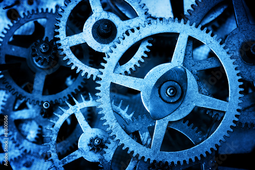 Grunge gear, cog wheels background. Industrial production