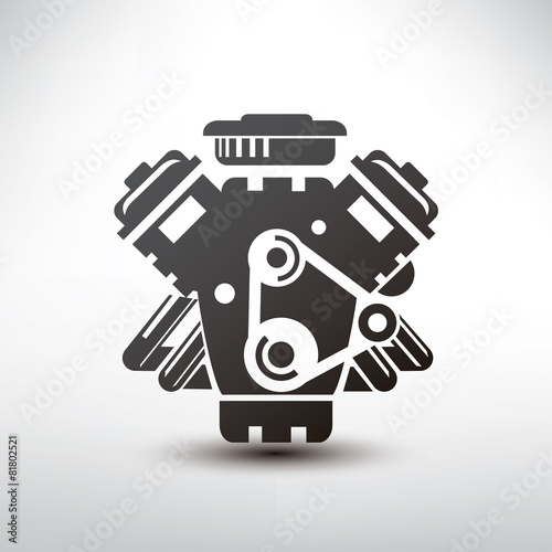 Photo car engine symbol, stylized vector silhouette of automobile moto
