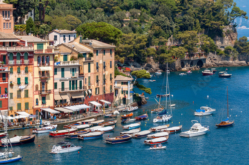 Fototapety, obrazy: Colorful houses and boats in Portofino.