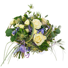Flower Bouquet From Roses, Green Carnation And Statice Flowers I
