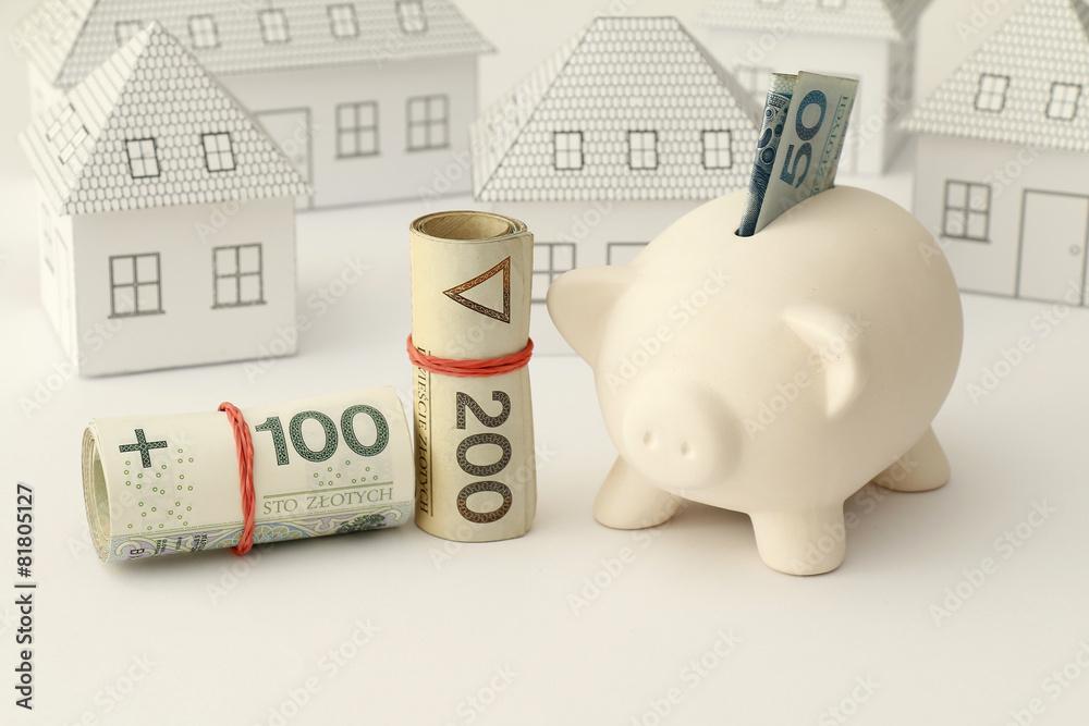 Fototapeta Zakup domu, mieszania, pieniądze