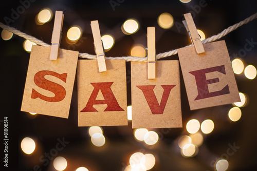 Fotografía  Save Concept Clipped Cards and Lights