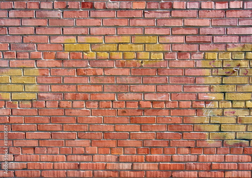 Poster Graffiti Red brick wall texture background