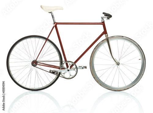 Deurstickers Fiets Stylish hipster bicycle isolated on white
