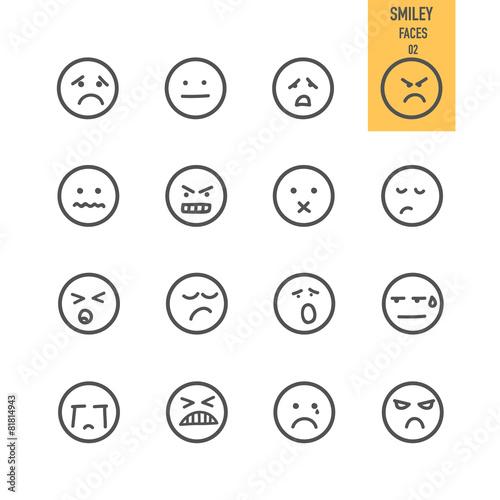 Fotografie, Obraz  Smiley faces icons set. Vector illustration.