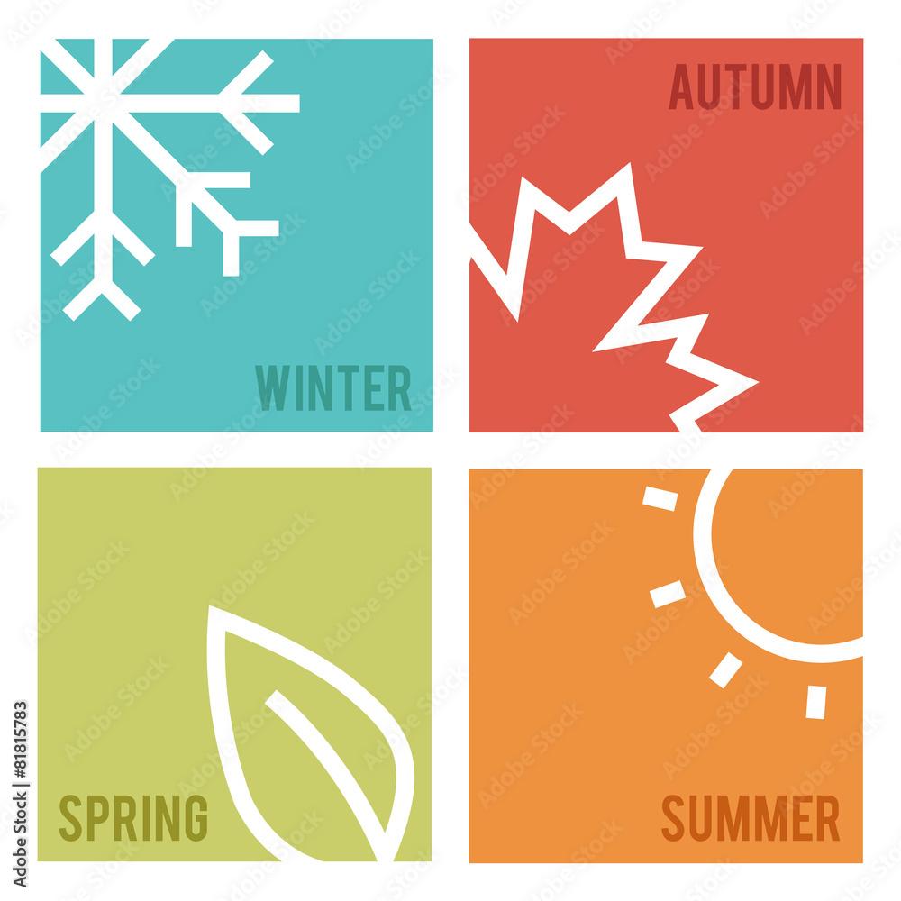 Fototapety, obrazy: Season icons.Vector illustration.