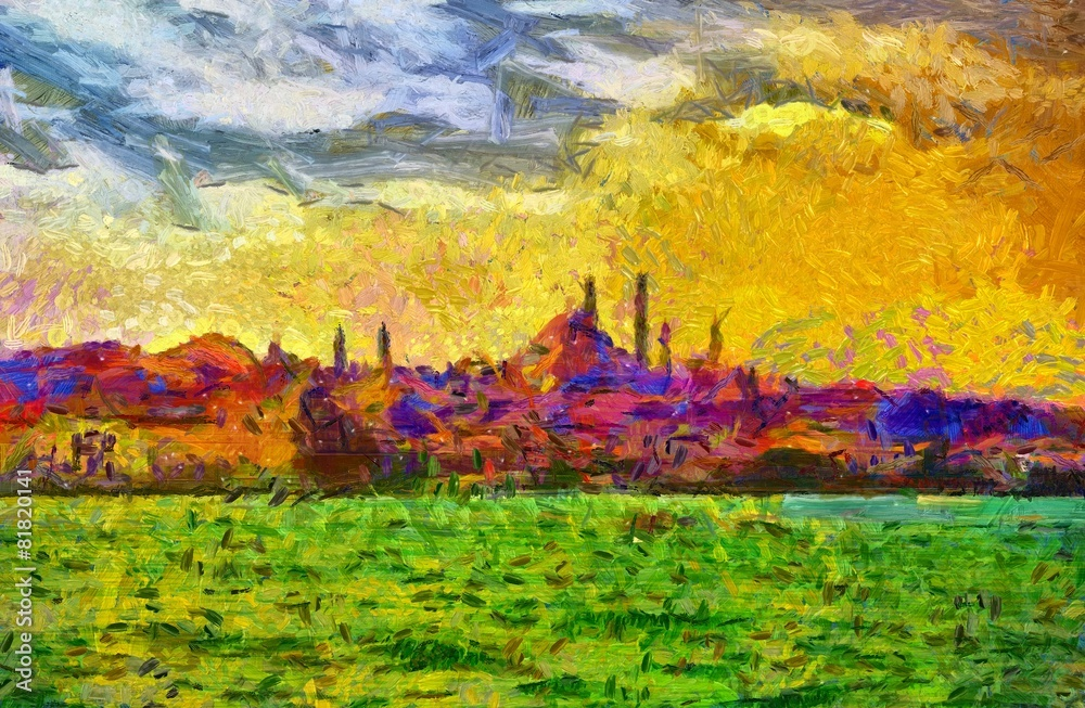 Istanbul shore view cityscape impressionist style painting