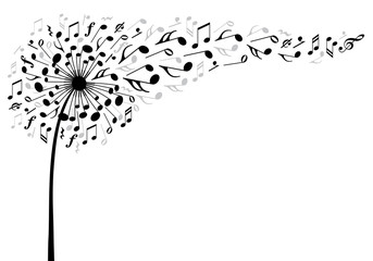 Naklejka music dandelion flower, vector illustration