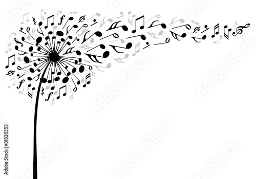 Fotografie, Obraz  music dandelion flower, vector illustration