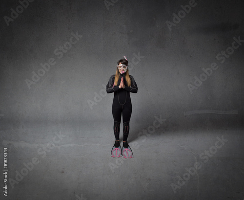 Printed kitchen splashbacks Artist KB diver praying in an abstract room