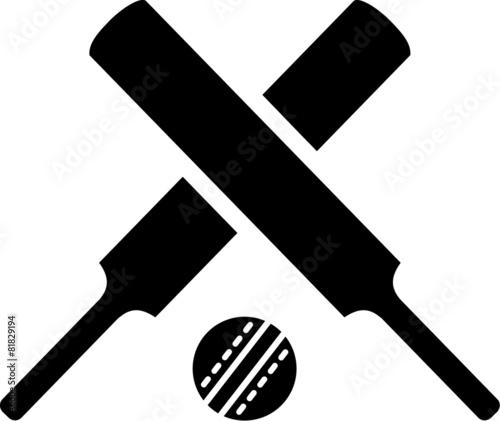 Fotografia Crossed cricket bats with ball