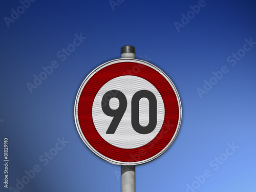 Fotografie, Obraz  Verkehrsschild Tempo 90