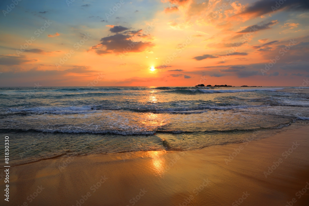 Fototapeta landscape with sea sunset on beach