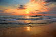 canvas print picture - landscape with sea sunset on beach