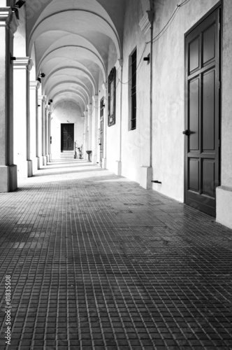 Fototapety, obrazy: Monastery of Breme, colonnade. Black and white photo