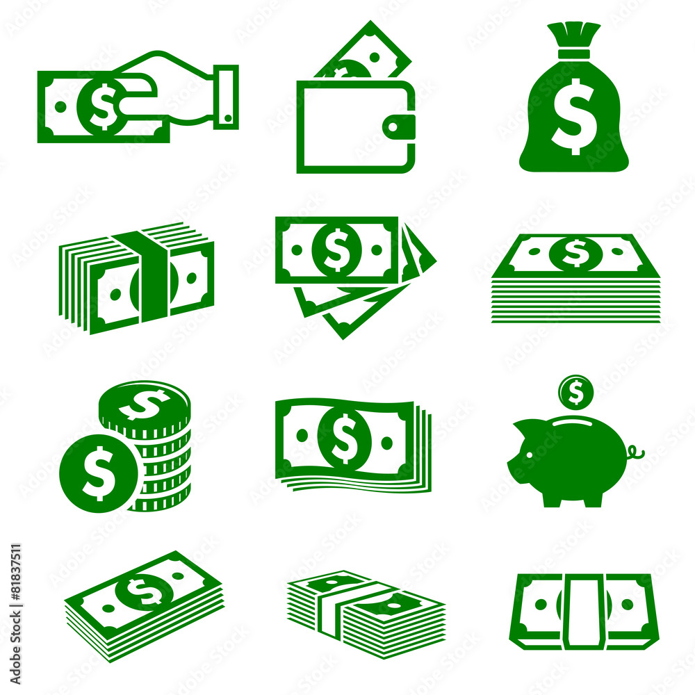 Fototapety, obrazy: Green paper money and coins icons