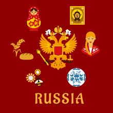 Russian Traditional National Flat Symbols