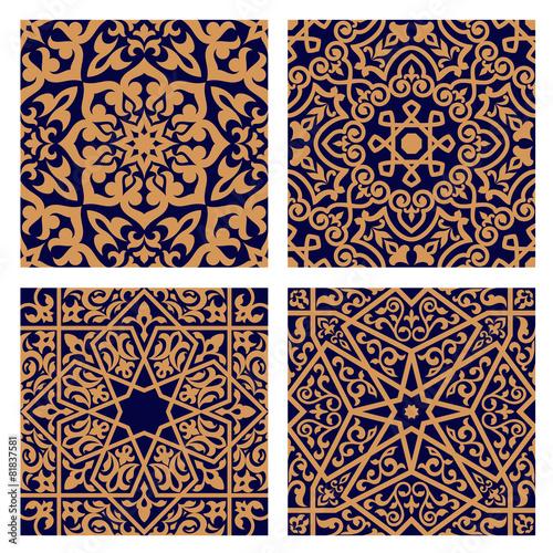 Fotografie, Obraz  Arabic geometric seamless patterns with foliage elements
