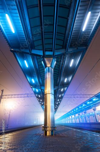 In de dag Tunnel Railway station at night. Train platform in fog. Railroad