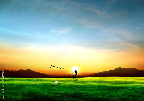 Tuinposter Zwavel geel drive golf sport illustration