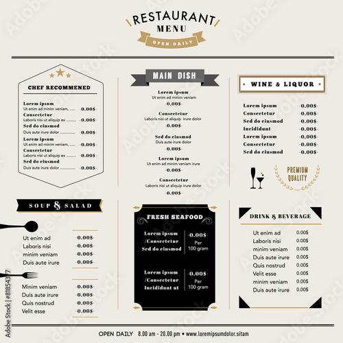 Restaurant Menu Design Template Layout Vintage Style Acheter Ce