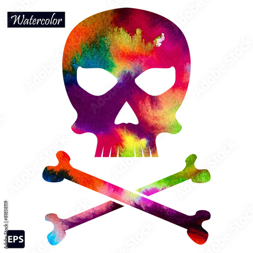 In de dag Aquarel schedel Vector watercolor skull icon for your business.
