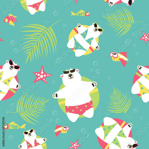 Seamless vector background with polar bears and sea Wallpaper Mural
