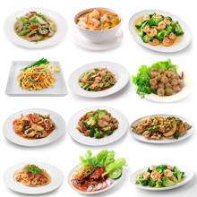 Set Of Thai Food On White Back...