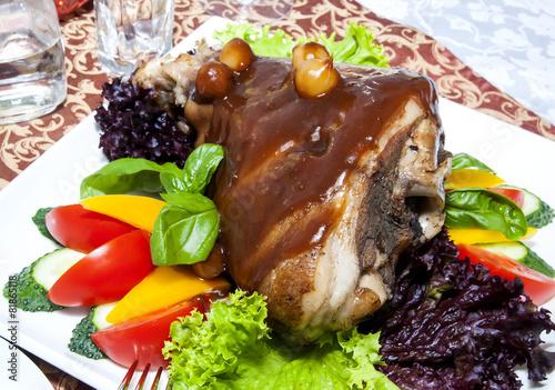 Deurstickers Klaar gerecht roasted pork knuckle with vegetables